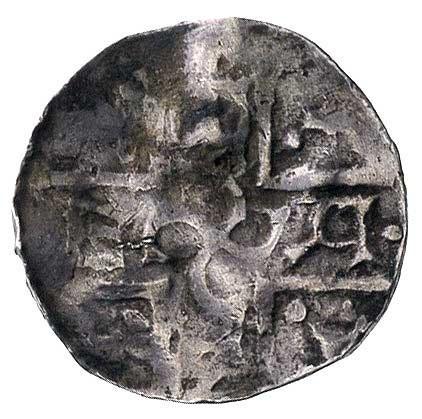 denar, naśladownictwo denara ratyzbońskiego lecz z tere...