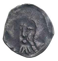 Koszalin, denar XIII w., Aw: Głowa św. Jana, Rw: Litera...