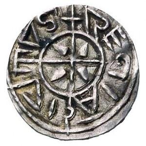 Stefan I 997-1038, denar, Aw: Krzyż, w polach kliny, na...