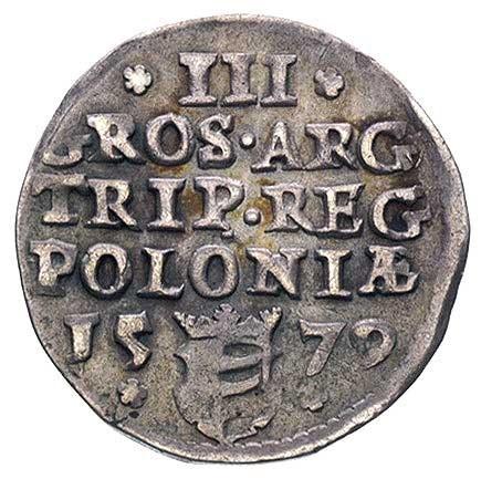 trojak 1579, Olkusz, popiersie króla przedzielające u g...