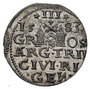 trojak 1583, Ryga, Kruggel 15, niecentrycznie wybity, a...