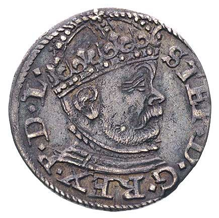 trojak 1586, Ryga, Kruggel Aw: 17a, Rw: 11, odmiana z d...