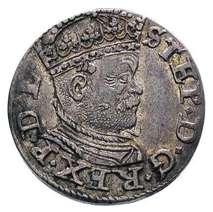 trojak 1586, Ryga, Kruggel 17b, odmiana z małą głową kr...