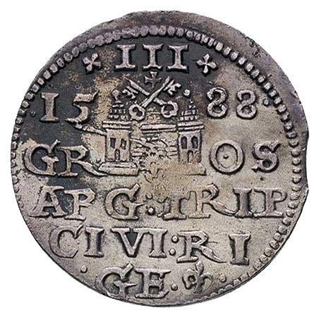 trojak 1588, Ryga, Kruggel 15, gięty
