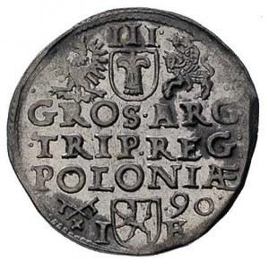 trojak 1590, Poznań, ciekawe popiersie króla, na rewers...