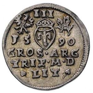 trojak 1590, Wilno, herb Leliwa pod popiersiem, T.6, Iv...
