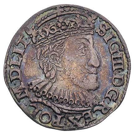 trojak 1591, Olkusz, pełna data pod literami I-F, lekko...