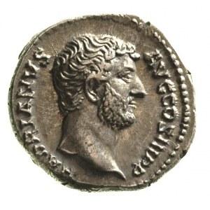 Hadrian 117-138, denar, Aw: Popiersie w prawo i napis w...