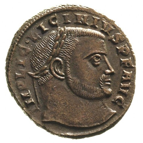 Licyniusz 308-324, AE-20, Aw: Popiersie cesarza w prawo...