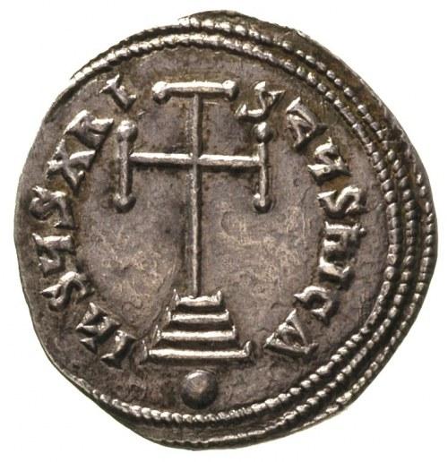 Bazyli I 867-886, miliaresion, Aw: Krzyż stojący na tró...