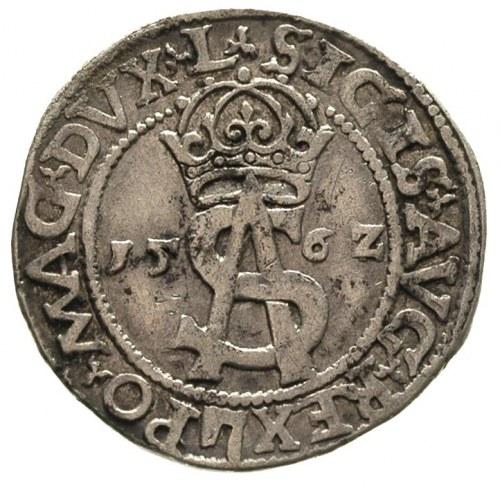 trojak 1562, odmiana Pogoń w tarczy i znak Topór w napi...