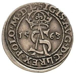 trojak 1563, Wilno, mały monogram królewski, napisy L /...