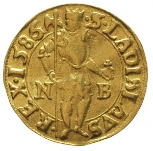 dukat 1586 N-B, Nagy Banya, Aw: stojący król, Rw: Madon...