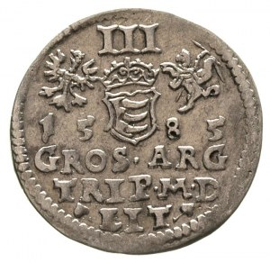 trojak 1585, Wilno, herb podskarbiego pod popiersiem kr...