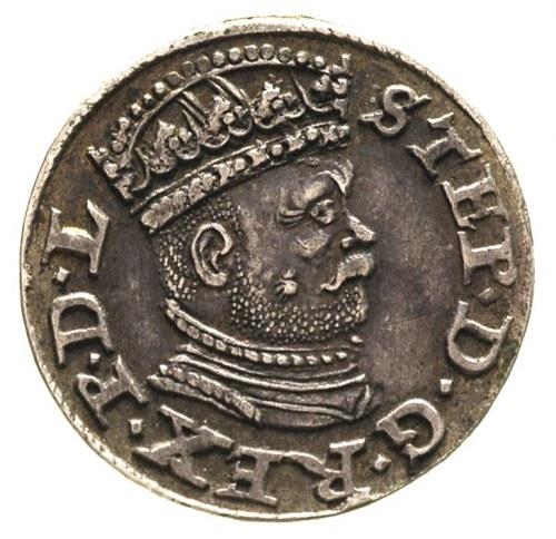trojak 1586, Ryga, odmiana z małą głową króla, Gerbasze...