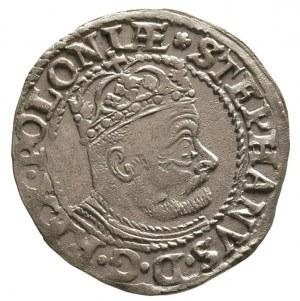 grosz 1580, Olkusz, Aw; Popiersie króla w prawo i napis...