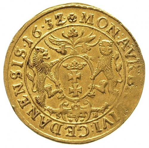 dukat 1632/1, Gdańsk, przebitka daty, na rewersie napis...