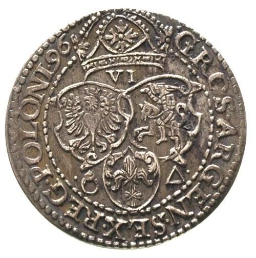 szóstak 1596, Malbork, bardzo ładny egzemplarz, ciemna ...