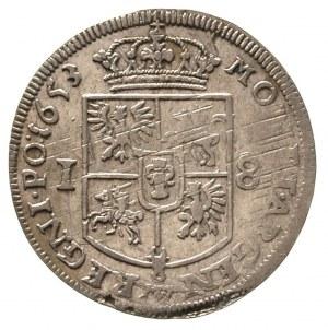 ort 1653, Wschowa, wieniec na głowie króla dzieli napis...