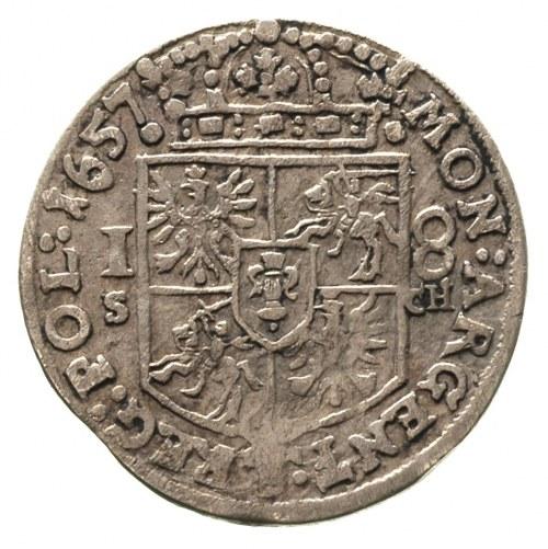 ort 1657, Kraków, litery S - CH po bokach tarczy herbow...