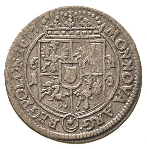 ort 1677, Bydgoszcz, po bokach tarczy herbowej litery M...