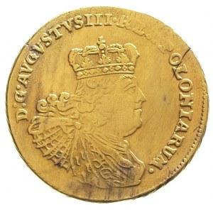 5 talarów 1758, Lipsk, złoto 6.45 g, Kaleniecki s 505, ...