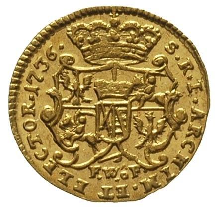 1/4 dukata 1736, Drezno, Fr. 2852, złoto 0.87 g, piękny...
