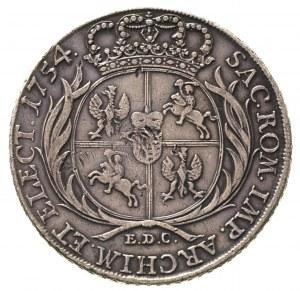 talar 1754, Lipsk, odmiana z literą L pod popiersiem kr...