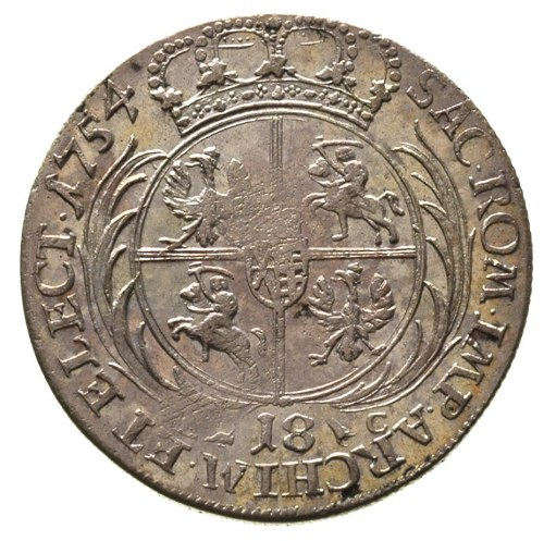 ort 1754, Lipsk, średnie popiersie króla, Merseb. 1779,...