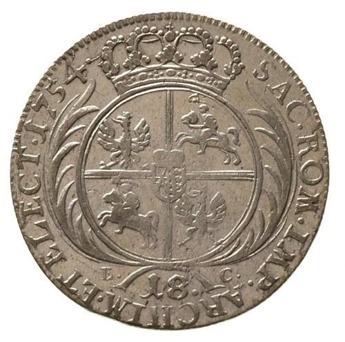 ort 1754, Lipsk, wąskie popiersie króla -jak na tymfach...