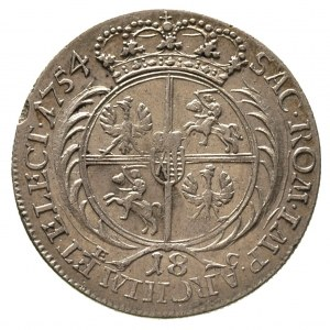 ort 1754, Lipsk, średnie popiersie króla, Merseb. 1779