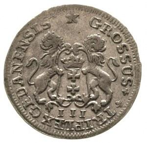 trojak 1755, Gdańsk, ładnie zachowany, delikatna patyna