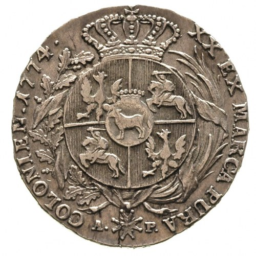 półtalar 1774 Warszawa, Plage 359, T. 18, lekko pęknięt...