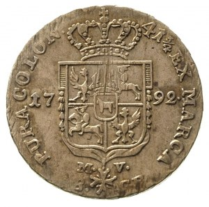 dwuzłotówka 1792, Warszawa, litery M - V, Plage 345, ju...