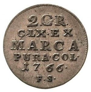 2 grosze srebrne (półzłotek) 1766, Warszawa, tarcza sze...