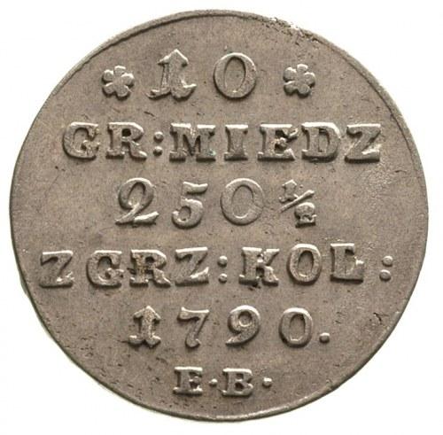 10 groszy miedzianych 1790, Warszawa, kropka po dacie, ...