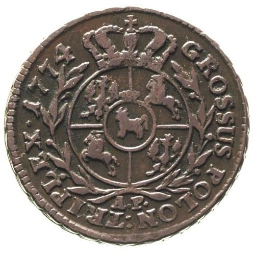 trojak 1774, Warszawa, bez kropki po dacie, Plage 173, ...