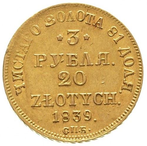 3 ruble = 20 złotych 1839, Petersburg, Plage 309, Bitki...