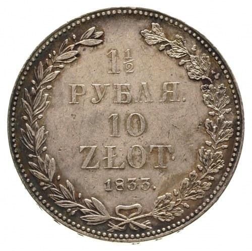 1 1/2 rubla = 10 złotych 1833, Petersburg, korona wąska...