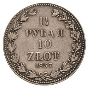 1 1/2 rubla = 10 złotych 1837, Warszawa, cyfry daty duż...