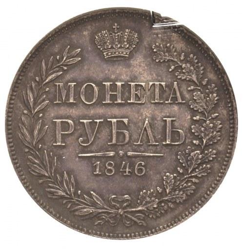 rubel 1846, Warszawa, odmiana z wieńcem o 7 kępkach liś...