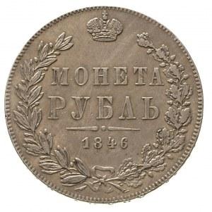rubel 1846, Warszawa, odmiana z wieńcem o 8 kępkach liś...