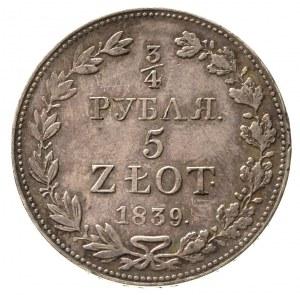 3/4 rubla = 5 złotych 1839, Warszawa, Plage 363, Bitkin...
