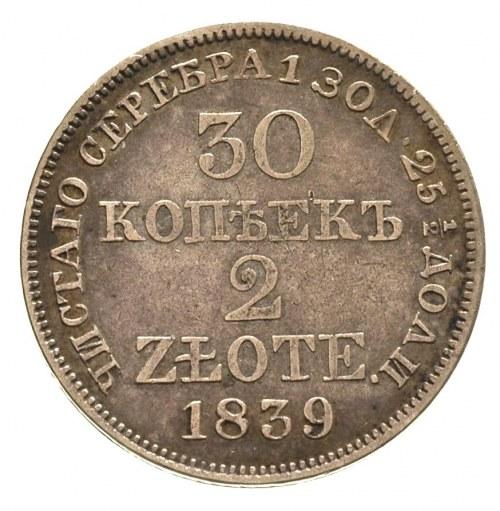 30 kopiejek = 2 złote 1839, Warszawa, Plage 378, Bitkin...