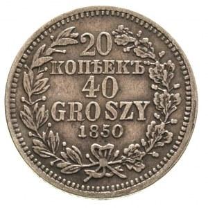 20 kopiejek = 40 groszy 1850, Warszawa, gałązki wieńca ...