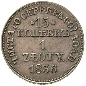 15 kopiejek = 1 złoty 1836, Warszawa, 7 piór w ogonie o...