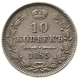 10 kopiejek 1855, Warszawa, Plage 458, Bitkin 444 R, le...
