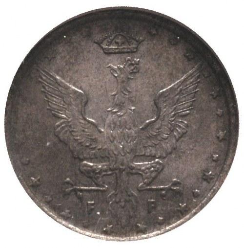 10 fenigów 1917/F, Stuttgart, Parchimowicz 6 b, napis o...