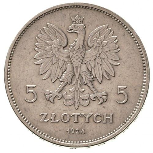 5 złotych 1928, Bruksela, Nike, Parchimowicz 114 b, nie...