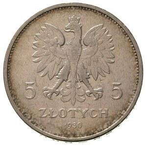 5 złotych 1930, Warszawa, Nike, Parchimowicz 114 c, rza...